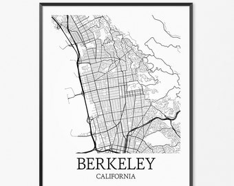Berkeley Map Art Print, Berkeley Poster Map of Berkeley Decor, Berkeley City Map Art, Berkeley Gift, Berkeley California Art Poster