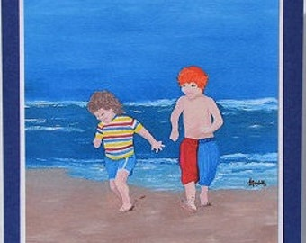 card print of my Oil painting.Cute little boys on the Beach, racing the waves.