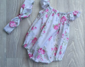 Seaside Playsuit Romper with matching headband - size 0000