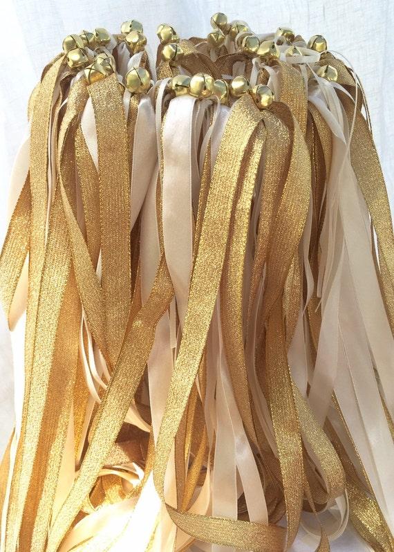 100 Ivory Gold Wedding Ribbon Wands Favors