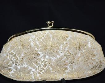 Gold lame clutch / Avon clutch / Kadin clutch / gold / ivory / Kadin Avon purse / evening bag / Avon / Avon Kadin evening bag /