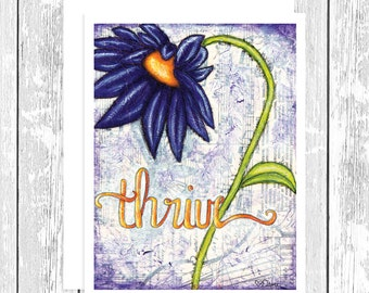 "NOTECARD: Flourishes in Print - Thrive, Purple Daisy 4.25"" x 5.5"" A2 Greeting Card, Gift for Her, Gift for Friend, Gift for Flower Lover"