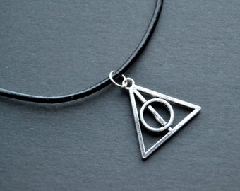 Deathly Hallows Necklace. Black Leather/Waxed Cotton Cord. Harry Potter Necklace.