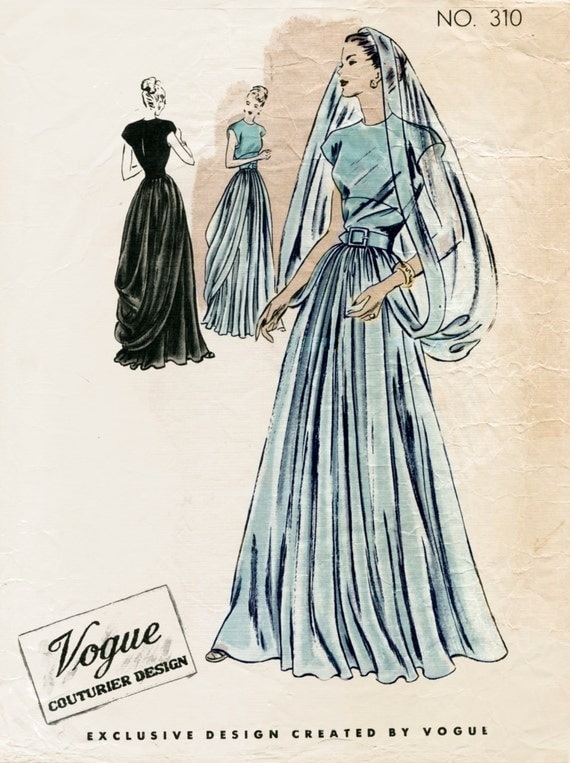 1940s 40s vintage sewing pattern wedding dress evening ball for 1940s wedding dress patterns