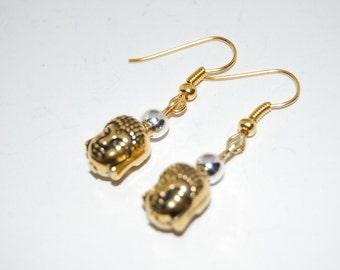 Golden Happy Buddha Earrings,Drop Earrings ,Dangle Earings ,Boho Jewelry ,Good Luck ,Gift