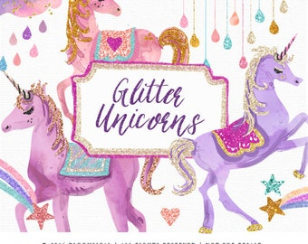 Glitter Unicorns Clip Art | Glam unicorn, clouds, stars, rainbow glitter Graphics | Cards, Planner Stickers  | Digital Printable Cliparts