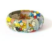 Comics Book Bangle Bracelet Donald Duck Decoupage Eco Friendly Recycled Paper