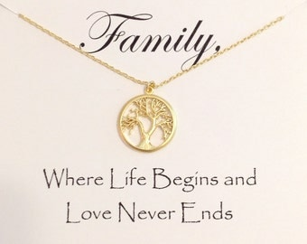 Gold Tree of Life Necklace, Gift for Mom From Bride, Mother in Law Gift, Mother of the Groom Gift Necklace,  Mother of the Groom Jewelry