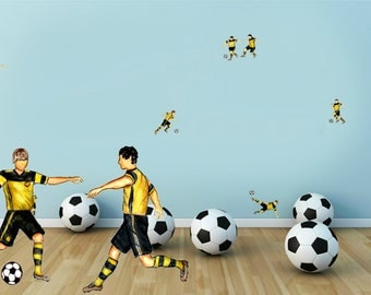 SALE -50 % - Soccer Players In Yellow-Black Uniform - 14 Hand-Painted Furniture /Tile /Wall Football Decals - Home Decor Stickers