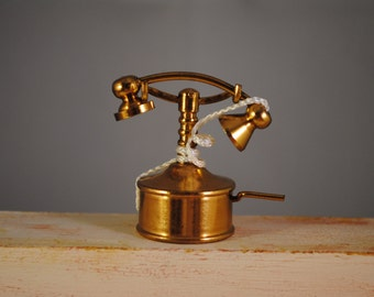 Vintage brass,telephone,miniature,size perfect for dollhouse decor,collections