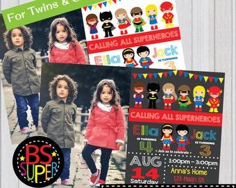 SUPERHERO PARTY Invitation, Two kids Superhero Party Birthday invitation, Twins Party invite, joint birthday party, sibling birthday