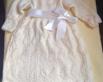 christening dress,  knit baby dress, ivory knit baby dress, baptism knit dress,event dress, baby girl dress, newborn knits