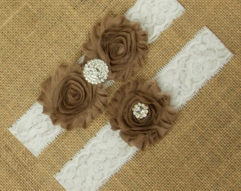 Brown Wedding Garter, Light Brown Garter Set, Garter Set Brown Bridal Garter Belt, Toss Garter, Keepsake Garter, Lace Garter Set, SCWS-N05