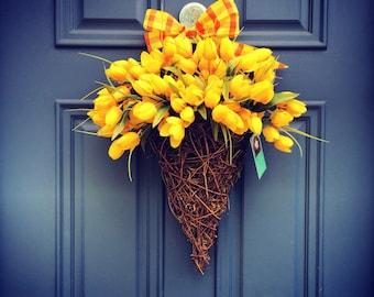 Basket of Tulips for Front Door , Summer Door Basket , Summer Wreaths , Housewarming Gift , Front Door Outdoor Wreaths , Wreath Obsessed