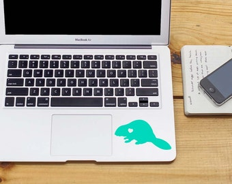 SUMMER SALE! Beaver w/ Heart Car Laptop Vinyl Decal Sticker