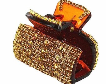 New Tortershell With Amber Gold Crystal & Rhinestone 2'' Superior Quality Hair Claw Clip