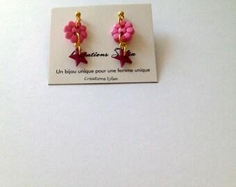 Gold tone earrings, Pink flower earrings, Star buttons earrings, Children earrings, Young girl earrings ( BO322)