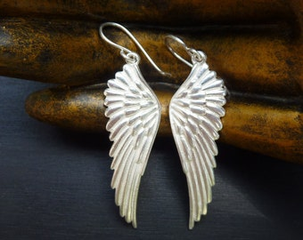 Angel Wing Earrings, Silver Angel Wings, Angel Wing Jewelry, Silver Wings, Protective Jewelry, Guardian Angel, Wing Dangle Earrings, Angel