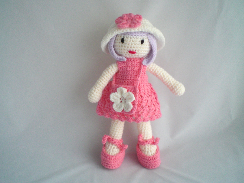 Crochet Doll / Cute Crochet Amigurumi Doll / Dress up 18 inch