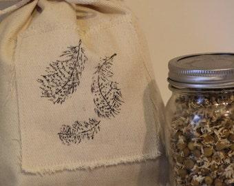 Hemp Fabric Gift Bag, Reusable Cloth Gift Bag, Guinea Fowl Feather Gift Bag