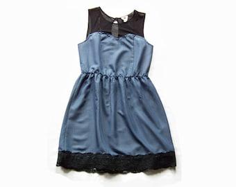 Large Blue Studded Upcycled Dress