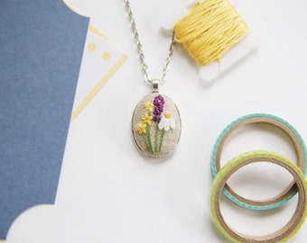 Statement Jewelry. Flowers Pendant. Embroidery Necklace. Wildflower Bouquet Necklace. Jewelry Under 25.