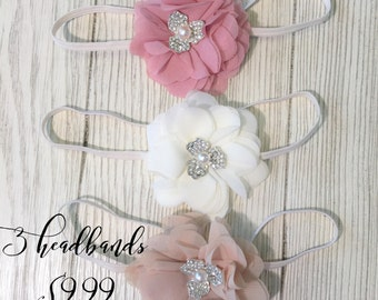 Baby Girl  Headbands-Set of  3- Newborn Headbands- Baby Flower Headbands