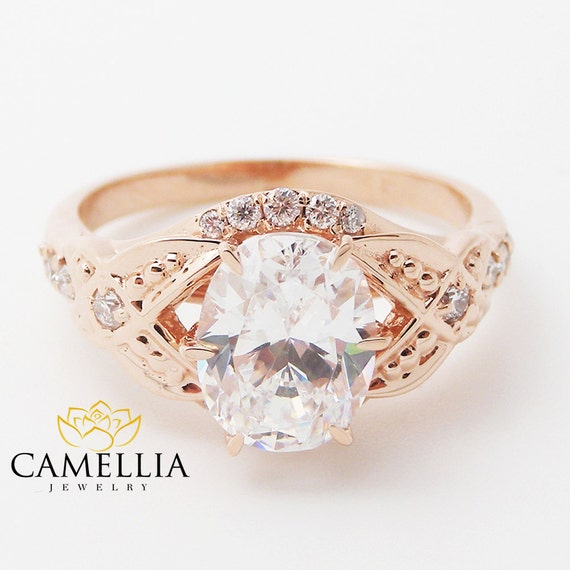 Oval Moissanite Engagement Ring 14K Rose Gold Unique