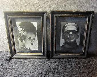 Frankenstein and Bride Framed Art Picture - Horror Gothic Monster Home Decor