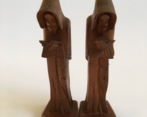 Carved Wooden Monastic Bookends.  Made in Mexico.  Simple and Elegant detailing and modern elongated scholarly figures.