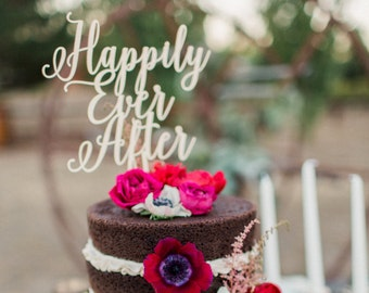 Happily Ever After After Cake Topper, Laser Cut Cake Toppers, Wood, Wedding cake topper, Cake Topper, Fairytale Cake Topper
