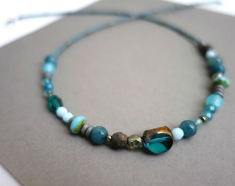 unique necklace in blue tone czech glass beads, agate and japanese seed beads. Original, eclectic, asymmetric, beaded boho necklace.