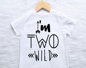 I'm Two Wild CUSTOMIZABLE COLORS boys second 2nd birthday shirt boho wild one 2