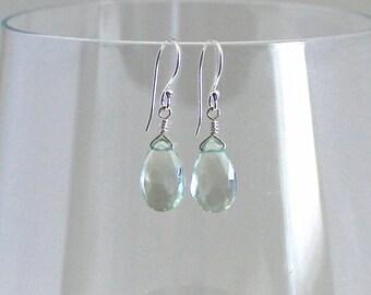 Green Amethyst Earrings, Green Amethyst Dangles, Prasiolite Earrings, Mint Dangles, Green Amethyst Teardrop Earrings, Sterling Silver