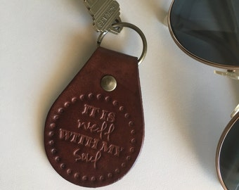 Leather It Is Well With My Soul Keychain