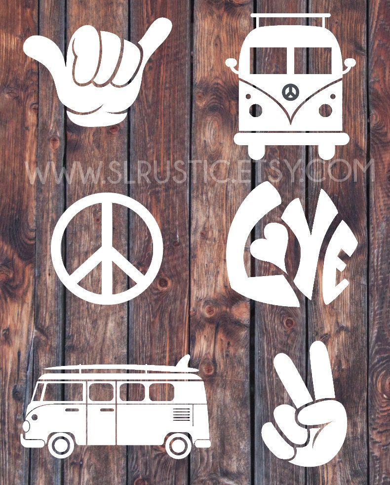 hippie decals vw van decal peace sign decal shaka hand