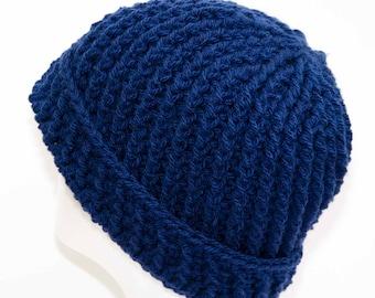 Chunky Blue Crochet Beanie
