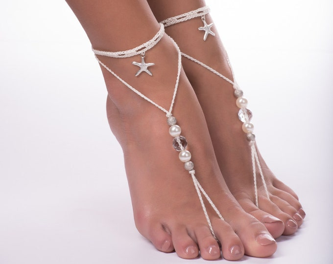 Beaded barefoot sandals/Crochet barefoot sandals/Beach wedding/Bridal Footless shoes/Starfish Barefoot Sandals
