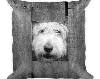 Goldendoodle Photo Pillow/Dog Pillow/Pet Pillow/BW Photo/Pillow/Goldendoodle/Cute/Fun/Fence/Dog Face/Dog