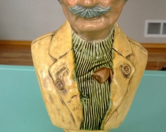 Vintage Ceramic Bust Signed Finechem (?) Free Shipping