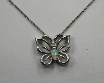 Estate, Sterling Silver Butterfly Necklace