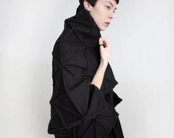Origami jacket/ wool poncho/ origami poncho