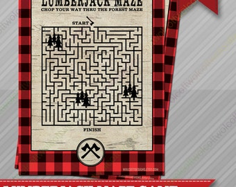 Lumberjack Maze Game - Lumberjack party - Lumberjack party supplies - Party Games - Lumberjack party games - Maze Game