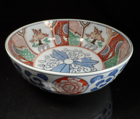Porcelain Bowl-Imari Japan Fine Porcelain Bowl-Marked Imari Bowl Blue Flower Bottom-Hand Painted Porcelain Bowl