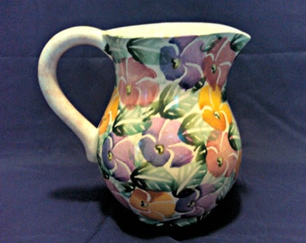 Vintage Floral Pitcher Milk Jug by Ancora, Italian Art Pottery, Hand Painted and Numbered, Mid Century, Circa 1960s