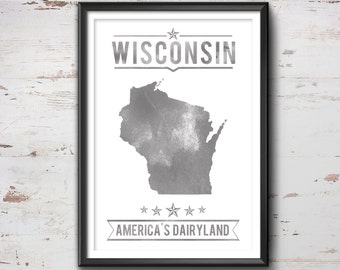 WISCONSIN State Typography Print, Typography Poster, Wisconsin Poster, Wisconsin Art, Wisconsin Gift, Wisconsin Decor, Wisconsin Print, Love