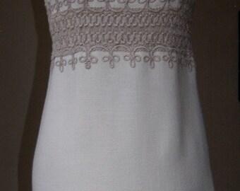 1960s Vintage cream Shubette dress with decorative insert