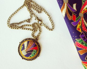 Japanese Fabric Pendant Necklace
