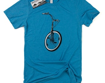 Mens BICYCLE Shirt // Mens Graphic Tee, Hand Printed, Mens Bike Tee, Summer Clothing, Bicycle TShirt, Biking Outdoors, Boyfriend Gift, Bike