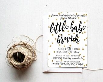Baby Shower Brunch Invitation, Little Babe Brunch, Unique, Gold Polka Dot, Printable (500)